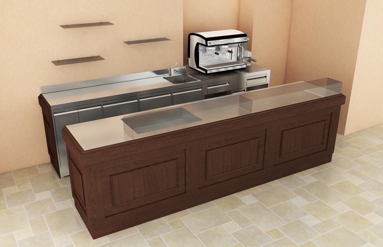 Render bancone Bar in acciaio inox